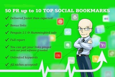 Do manually 50 PR10 Panda 4 Seo Social Bookmarks
