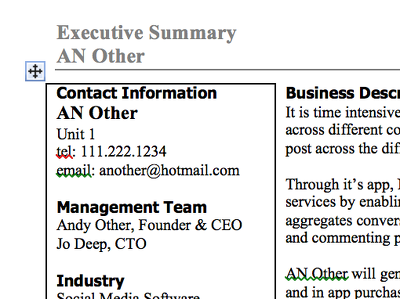 Write a 1 page executive summary of your business for investors