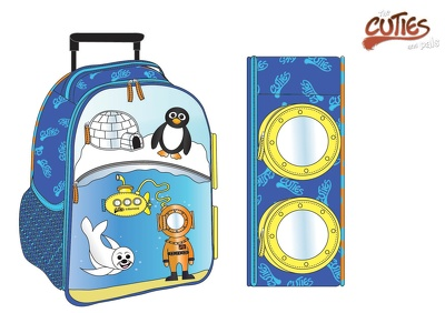 Design a range of 5 kids bags with colours and specs
