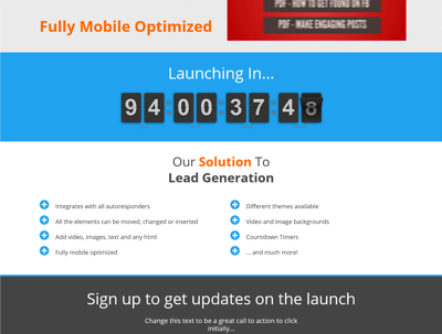 Create a mobile optimized leadgen or squeeze page