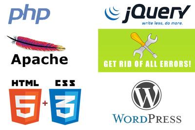 Fix any Wordpress/PHP/JS/CSS errors overnight