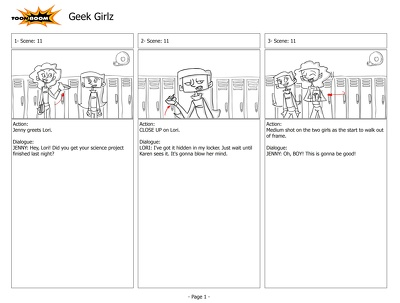 Create a page of storyboards