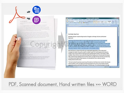 Typing your Handwritten / Scanned document / PDF files into Word or text files