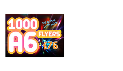 Print 1000 A6 flyers on 300gsm gloss card full colour both sides