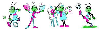 Design an original 4 different activities cartoon character in vector