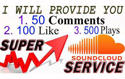 Provide you real 100 soundcloud like 50 comments & 500 plays