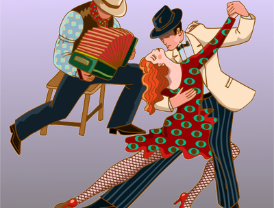 Desing a whimsical dance cartoon with 2 or 3 characters in vector