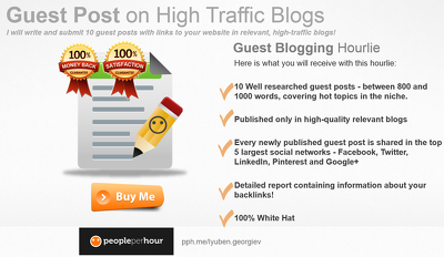 Create 5 guest posts on high traffic relevant blogs