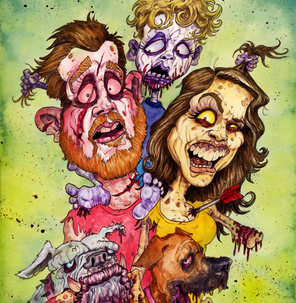 Sketch draw you a zombified cartoon or caricatured face