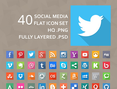 Send you 40 flat SOCIALMEDIA icons or Modify it for you