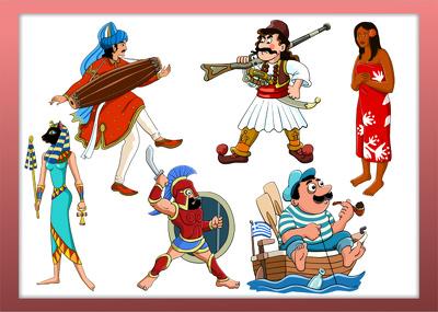 Design a beautiful ethnic cartoon character in vector