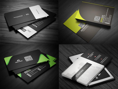 Design a clean, modern double sided business card with 3 different concepts