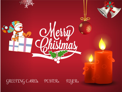 Create illustrative Christmas greeting card or flyer or poster