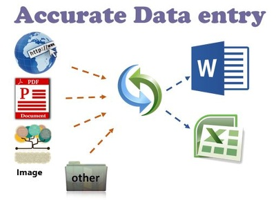 Research & do accurate data entry from web / pdf / image to word / excel for one hour