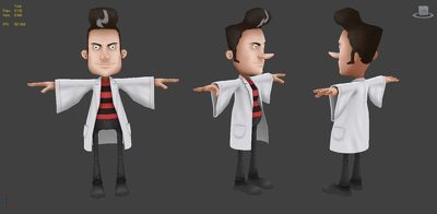 Create 3D low poly cartoon character