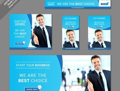 Create a professional web banner set for your business, brand