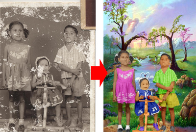 Restore Very Damaged Black & White Photo