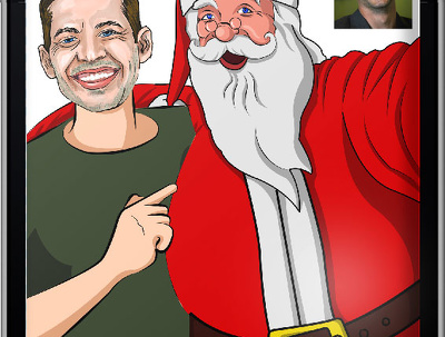 Cartoon/caricature  your selfie with Santa as a Christmas Greeting Card