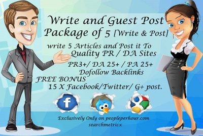 Write 5 articles and guest post it on a SeoMoz DA25+ PA25+ Sites with free bonus