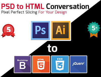 PSD & illustrator to HTML5 CSS3 Twitter Bootstrap Responsive conversation