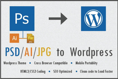 Convert  PSD to a fully functional Wordpress website