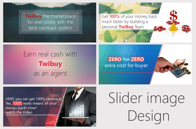 Design 6 professional looking, creative banner/slider image for your website