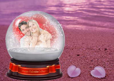 Put Your Photo Or Anything in Valentine Snow Globe