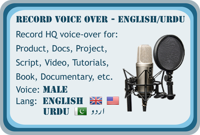 Record Urdu male voice over or English