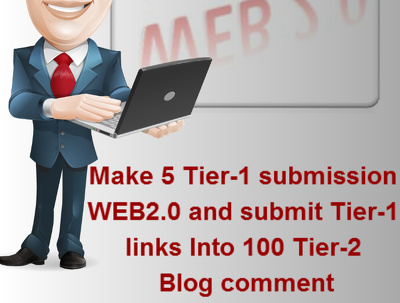 Make 5 Tier-1 submission WEB2.0 and 100 Tier-2 Backlinks
