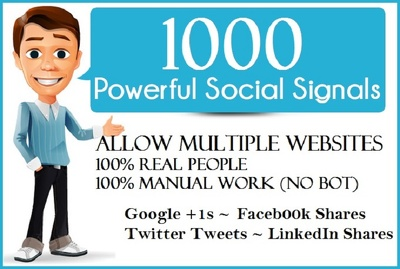Add 1000 social signals to your multiple websites