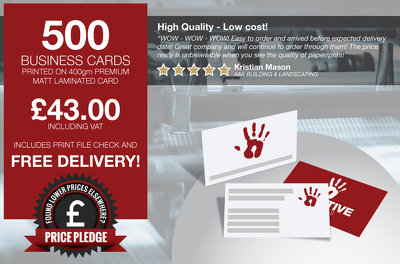 Provide 500 business cards on 400gm Premium Matt Laminated Card