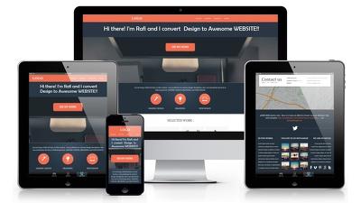 Convert a Design / PSD / JPG to Responsive HTML, CSS, JS