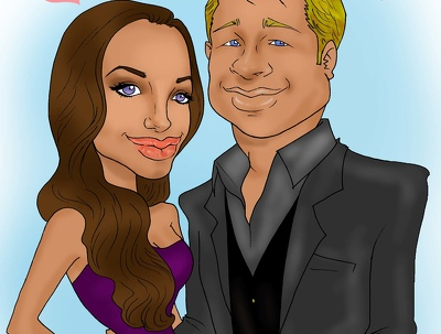 Create a valentine digital caricature
