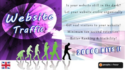 Send you 20000 traffic hits to your site from real visitors with 10s retention