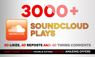 Add 3,000+ soundcloud plays,50 Likes, 40 Reposts and 40 Timing Comments