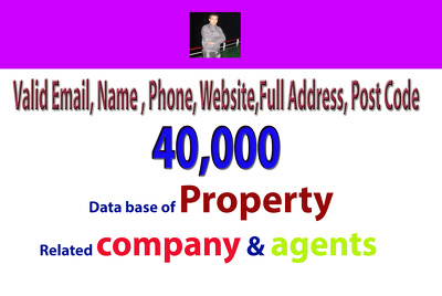 Provide property data of 10k companies and agents  all are verified