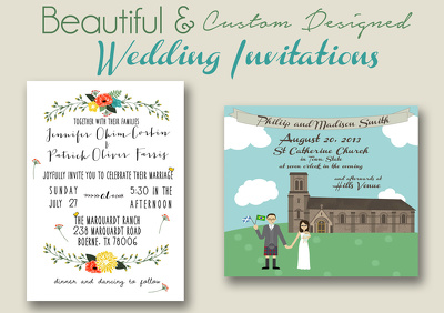 design a personalized, illustrated wedding invitation