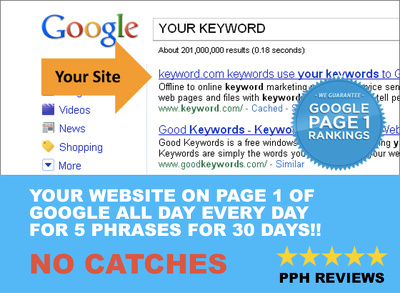 Get your website shown in PAGE 1 GOOGLE results for 30 days