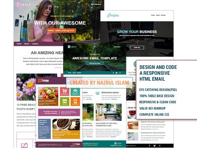 Design a responsive email or newsletter template (Design + Code)