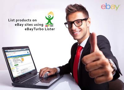 List products on ebay using eBay Turbolister as bulk or single listing