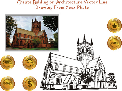 Create building or architecture vector line drawing from your photo