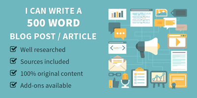 Write a 500 word blog post or article that's engaging & well-researched
