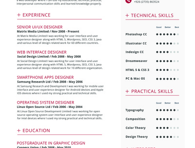 Provide Resume/Cv template that will get you noticed