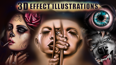 Draw you illustration with 3D effect