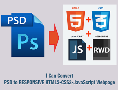 convert a PSD to responsive HTML5 & CSS3 using bootstrap and jQuery