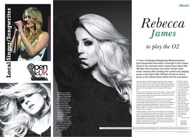 Design a stunning magazine editorial double page spread