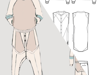 Create a fashion design technical drawing