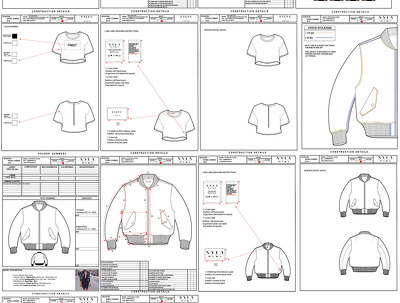 Create a fashion Tech pack for garment production