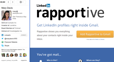 Check emails using LinkedIn Rapportive API, every 10000 emails