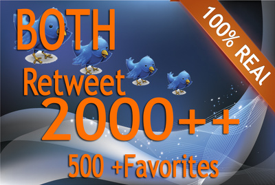 Get both 2000 retweet and 500 favorites